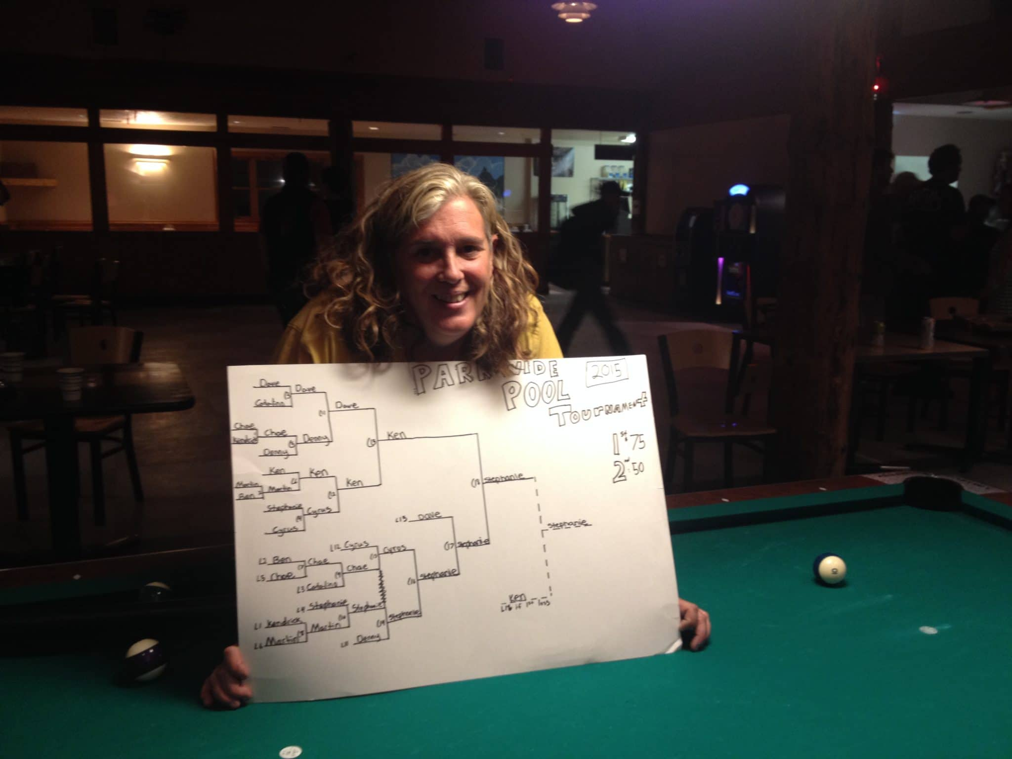 2015 Parkwide Pool champ Stephanie Hughes of Grant Village poses in the Old Faithful pub after her victory in the double elimination tournament.