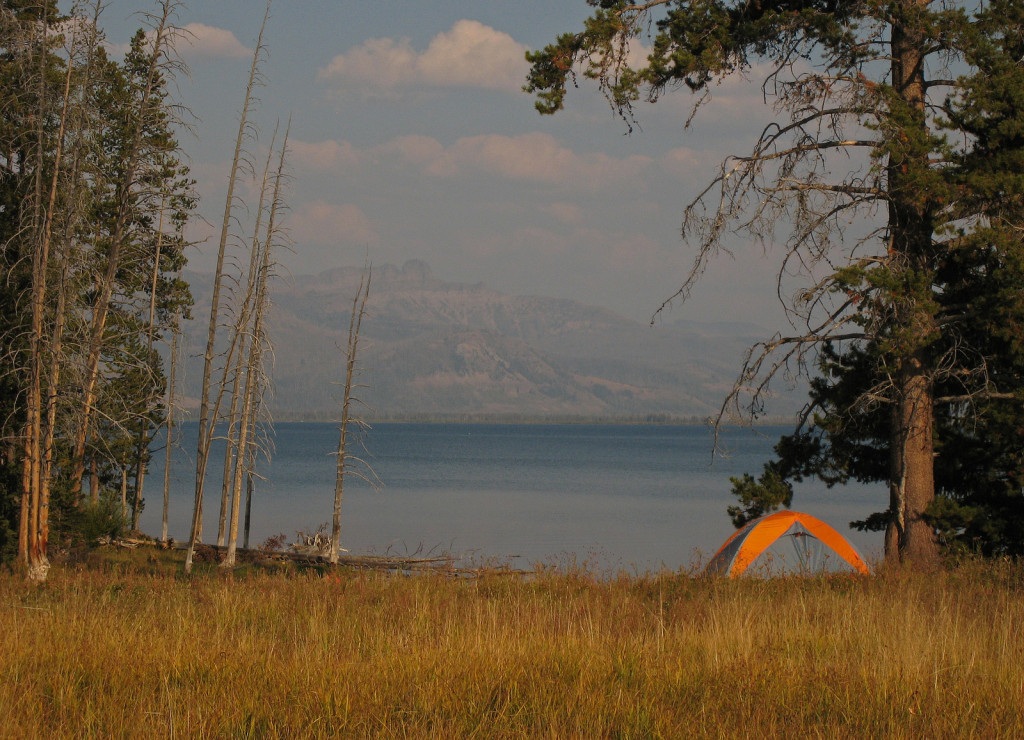 Experience Yellowstone from the quiet of a backcountry trail and campsite. NPS photo by Jim Peaco.