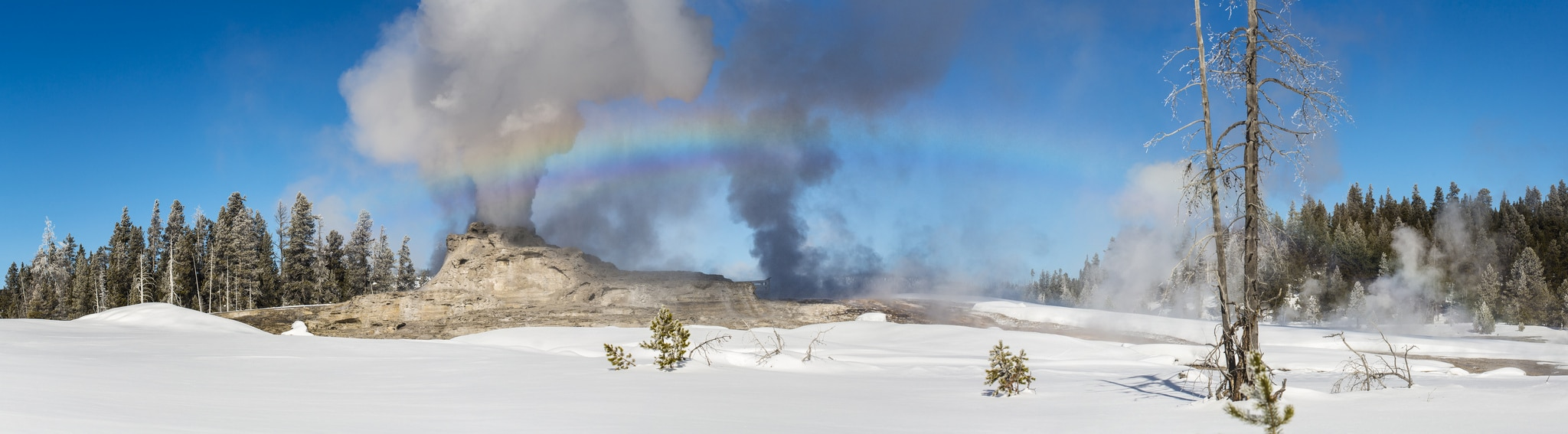 "Castle Geyser Eruption & Rainbow"" took 1st Place scenic category for Jacob Frank in the 2014-15 Yellowstone Employee Winter Photo Contest."